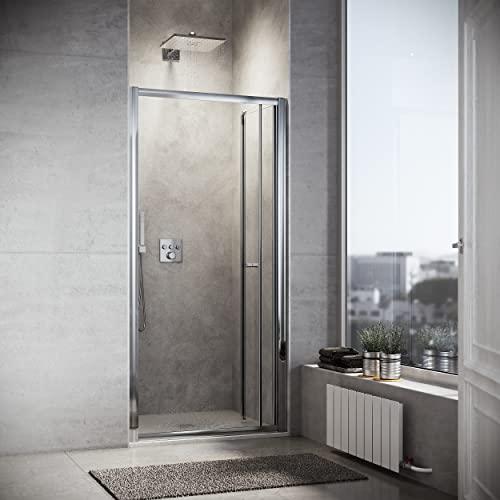 Duschkabine 90cm in Nische Nischentür Falttür Duschtür Duschwand glas faltbar -