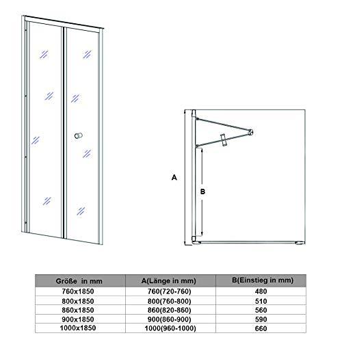 Hochwertige Duschtür Falttür aus Klarglas mit Aluminiumrahmen - 7