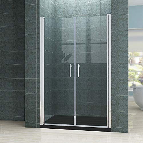 Rahmenlose Duschtür Pendeltür aus Klarglas mit Magnetverschluss