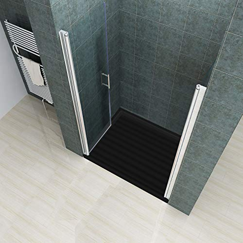 Rahmenlose Duschtür Pendeltür aus Klarglas mit Magnetverschluss - 3