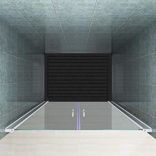 Rahmenlose Duschtür Pendeltür aus Klarglas mit Magnetverschluss - 4