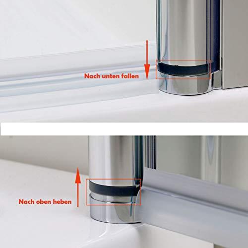 Rahmenlose Duschtür Pendeltür aus Klarglas mit Magnetverschluss - 2