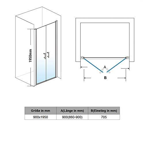Dusche 100cm Nischenabtrennung Duschkabine Duschabtrennung Duschtür Pendeltür 100cm - 6