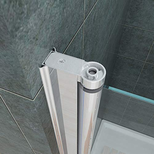 Rahmenlose Duschtür Pendeltür aus Klarglas mit Magnetverschluss - 8