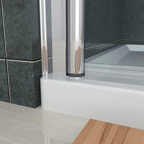 Rahmenlose Duschtür Pendeltür aus Klarglas mit Magnetverschluss - 6