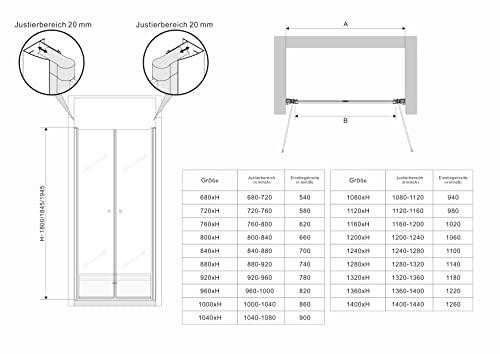 Hochwertige Duschtür mit Doppelschwenktüren und Nanobeschichtung - 9
