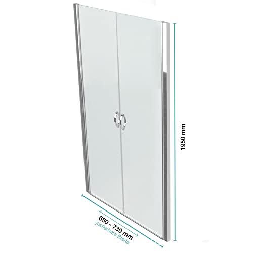 Hochwertige Design Mattglas-Duschabtrennung / Nischendusche mit Lotuseffekt | 90 x 195 cm - 4