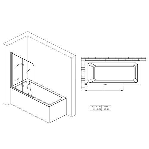 BxH:117×141 cm Duschabtrennung / Duschwand für Badewane aus Glas Cortona1408S-rechts, Wandanschlag rechts, inkl. Nanobeschichtung, Badewannenfaltwand - 7